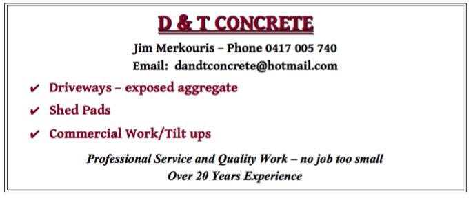 D&T Concrete business card
